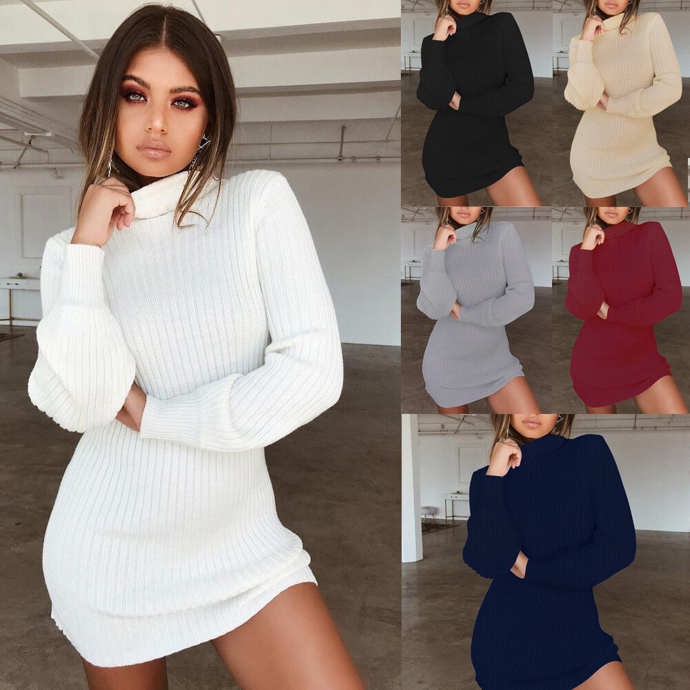 e47027972b4d Details about Women Solid Long Sleeve Bodycon Turtleneck Sweater Dress  Ribbed Knit Mini Dress