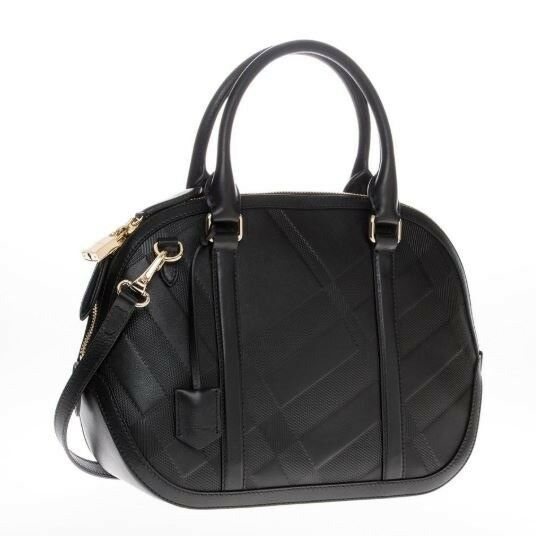 a232370a18db Details about Burberry Women s Small Soft Check Orchard Bowling black  Leather Satchel