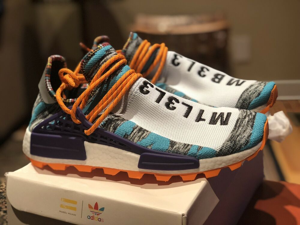 069bb436caea6 Details about Adidas Human Race NMD Size 10.5 HU Pharrell Williams Solar  Pack BB9528 Orange