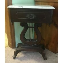 Vintage Marble Top Rose Carved Mahogany Harp end Table