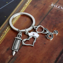 1X Nurse Cap Prayer Heart Keychain Keyring Women Graduation Nurse Gift Silver US