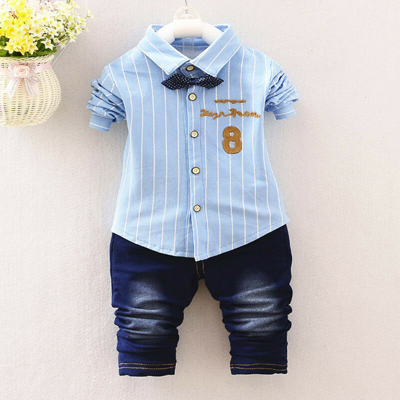 62f8479db766e Details about 2PC Kids Baby Boys Clothing Outfits Sets Shirt + Jeans Infant  Boy Clothes Suits