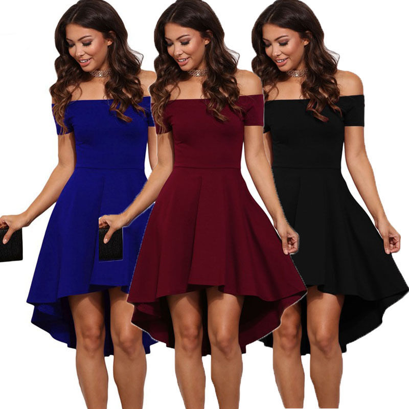 57b100c66863 New Women s Summer Casual Off-Shoulder Party Evening Cocktail Swing Short  Dress