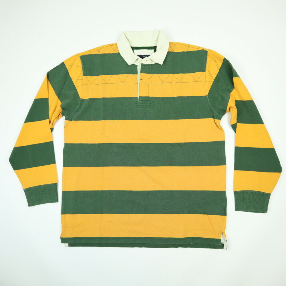 2ebc7b34fa5 Details about Vtg J CREW NOS Rugby Polo Shirt Mens size LARGE Striped  Yellow Green NWT