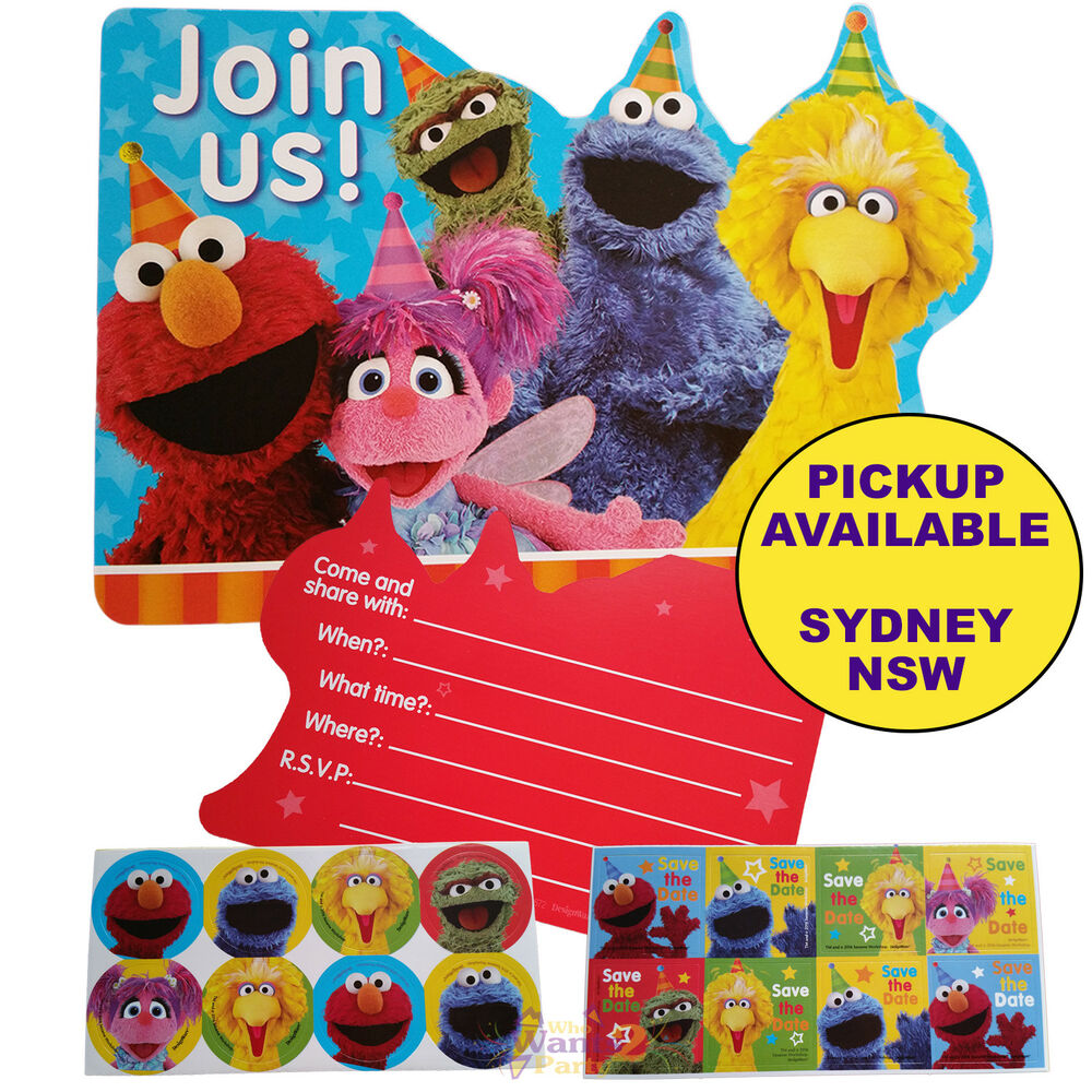 Details About SESAME STREET PARTY SUPPLIES 8 INVITES STICKERS ELMO BIRTHDAY INVITATIONS