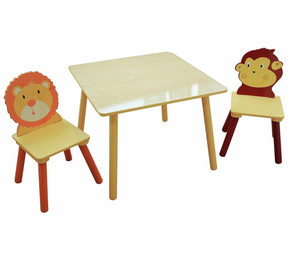 Owls Jungle Animals Wooden Bedroom Furniture Kids: Animal Safari Themed Jungle Kids Table And Chairs Set