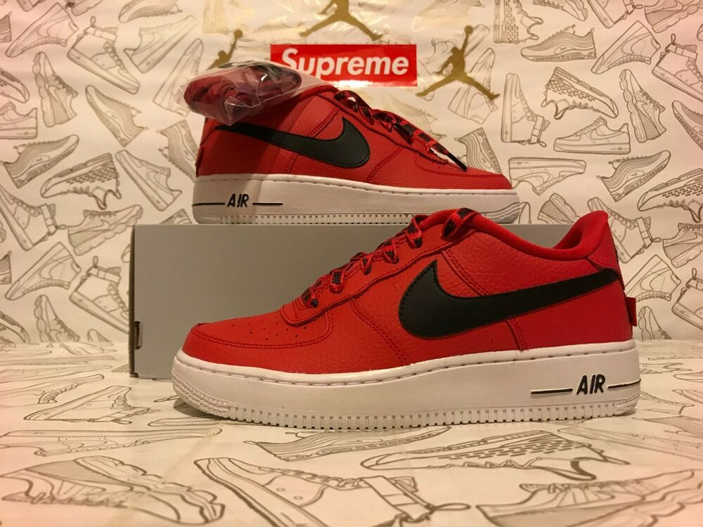 timeless design 07f97 b767d Nike NBA Air Force 1 Low LV8 Casual University Red/Black GS Sz 4Y-7Y 820438  ...