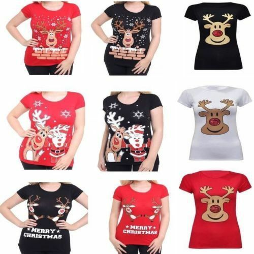 ee819cfbd Details about Ladies Xmas Christmas Reindeer Rudolph Santa Print T-Shirt  Top UK Plus Size 8-26