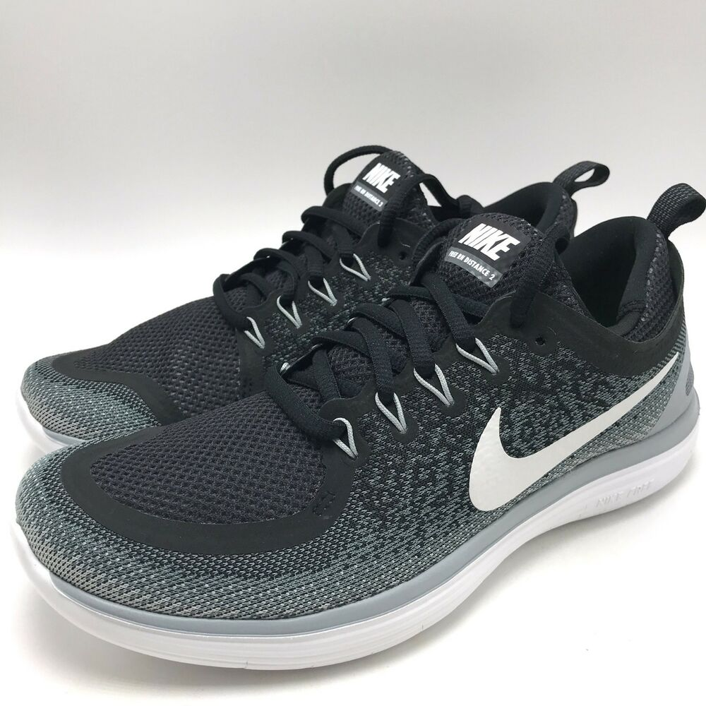 hot sale online ab8dc 4b8e1 Details about Nike Free RN Distance 2 Women s Running Shoes  Black White-Cool Grey 863776-001