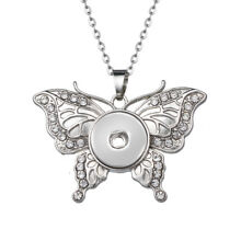 Butterfly Snap Button Jewelry Pendant With Chain For 18mm Snaps Charm