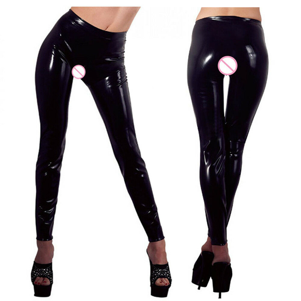 3118055c341 Details about Black Sexy Latex Wet Look Bandage Novelty Exotic Women PVC Faux  Leather Leggings