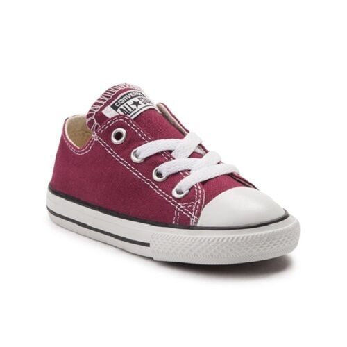 2473fe41c08b95 Details about Converse All Star Low Chucks Infant Toddler Burgundy Canvas Shoe  739794F