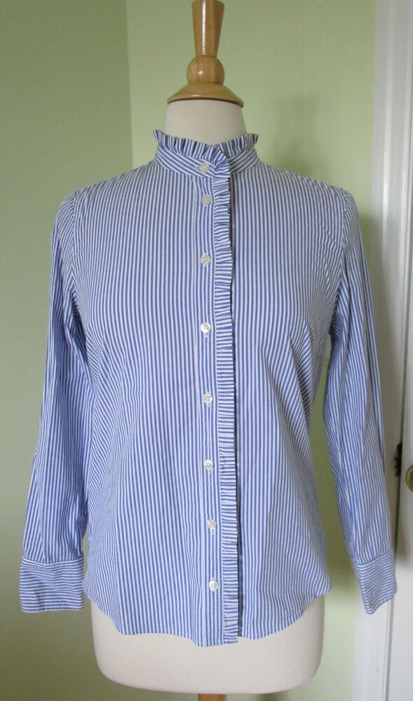 8ea7cd3270e74 Details about J Crew Factory  F7407 SMALL S Navy White Striped Ruffle  Blouse Shirt Top Button