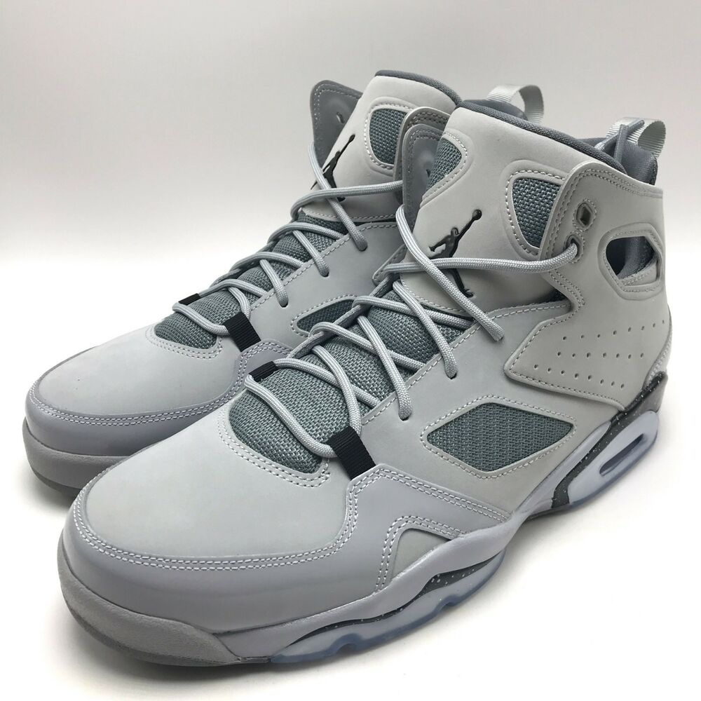 3afbfad711bd9f Details about Nike Jordan FLIGHT CLUB  91 Men s Basketball Wolf Grey    Black- Grey 555475-003