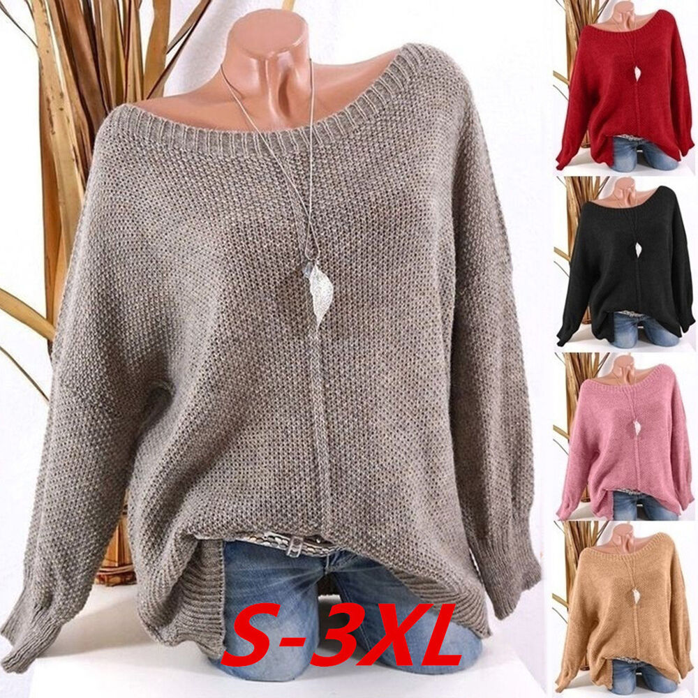 b3c66b97374 Details about Women Knitted Deep O-Neck Long Sleeve Wrap Front Loose Sweater  Pullover Jumper 9