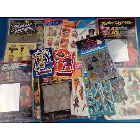 img-Vintage 1980s 90s Stickers E.T He Man A Team Pop Music Star Wars - Choose Pack!