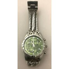 Lois Hill Chronograph Green Dial Sterling Silver and Stainless Steel Swiss Watch