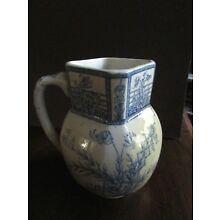 """Antique G.W. Turner and Sons Tunstall Transferware """"Beatrice"""" Pitcher Blue"""