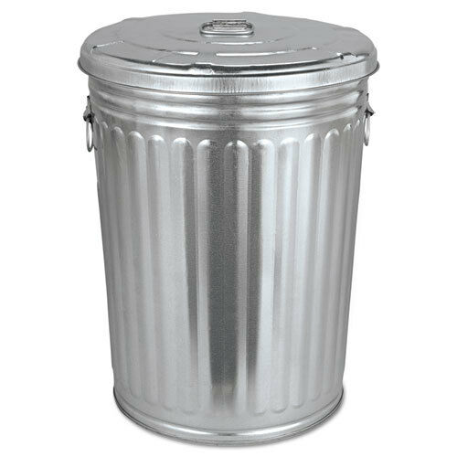 Magnolia Brush Pre Galvanized Trash Can With Lid Round
