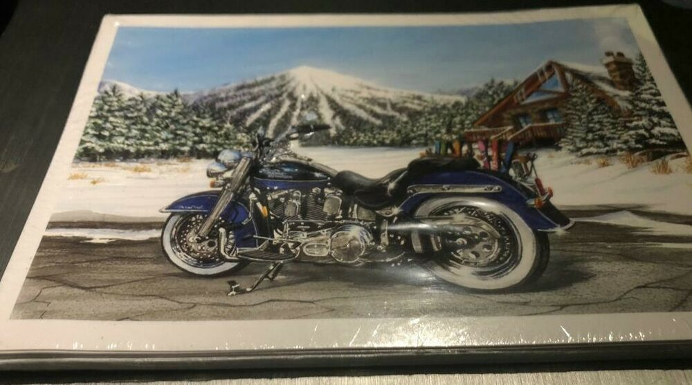 Harley Davidson Log: HARLEY DAVIDSON CHRISTMAS CARDS #X866 HARLEY IN FRONT OF