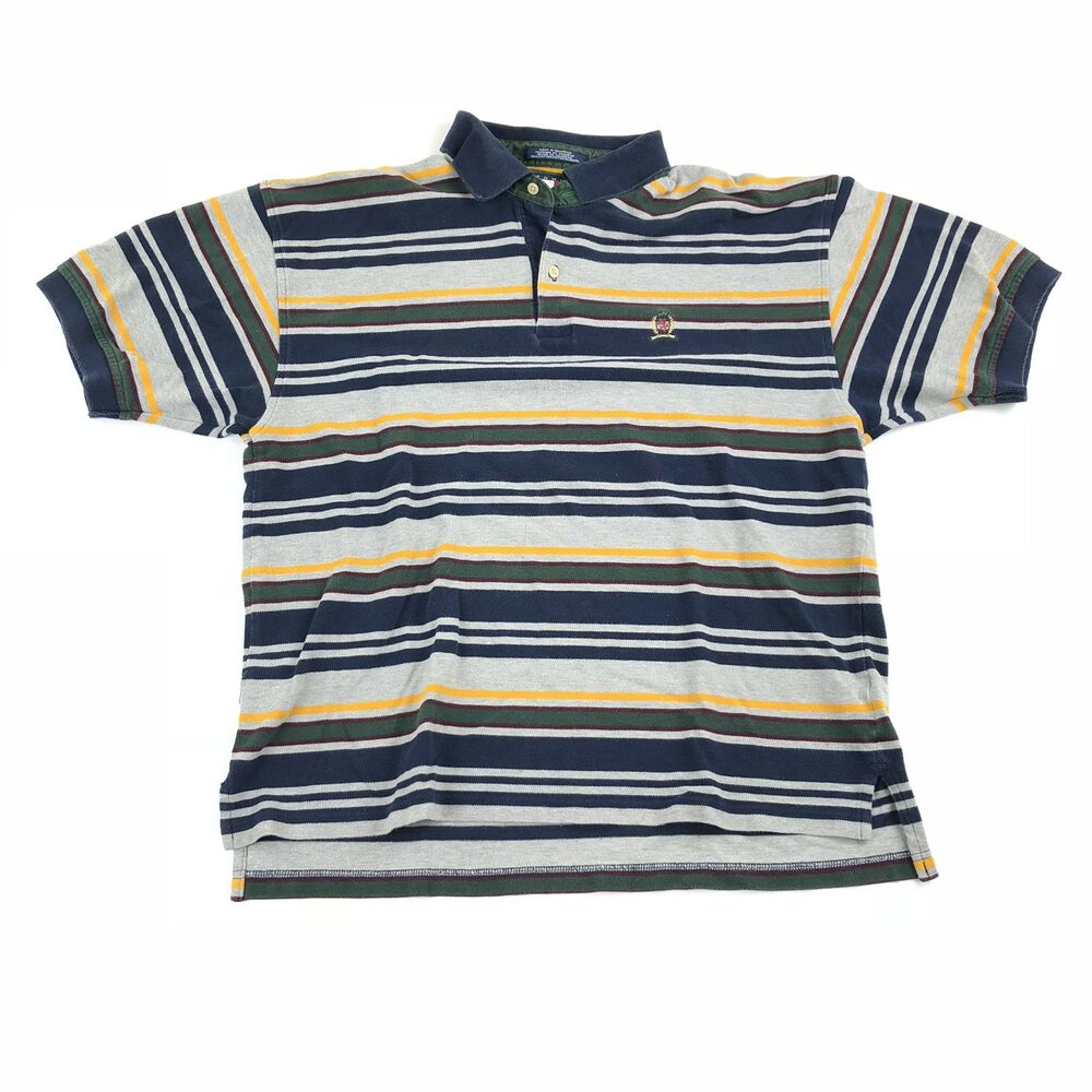 f1a74b3d3 Details about Vintage Tommy Hilfiger Rugby Polo Shirt Color Block  Horizontal Striped XL 90s