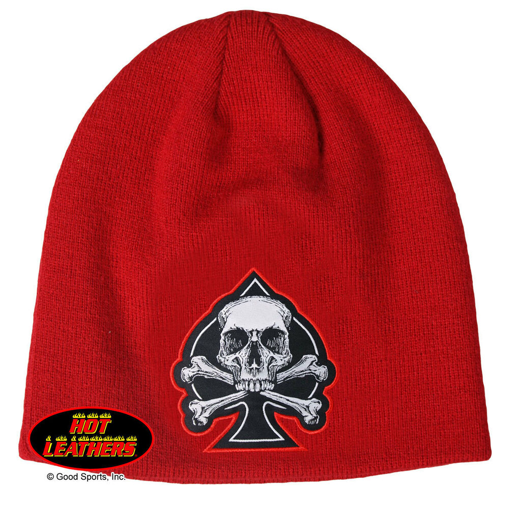 Details about Embroidered Red Black Spade Skull Biker Beanie Stocking Hat  Shorty Knit Cap 5979cca18fd