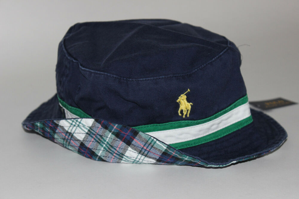 529397e4484ec Details about NWT RALPH LAUREN S M Men s Navy Chino Plaid Reversible  Striped POLO Bucket Hat