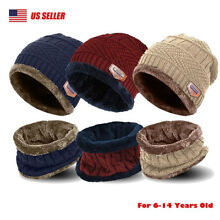Winter Boys Girls Hat And Scarf Set Kids Children Knit Warm Beanie Cap Xmas Gift