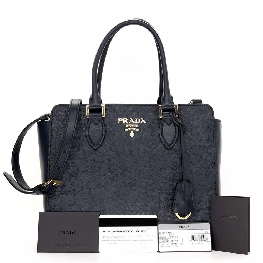 ba22af9c037e Details about New Prada 1BA118 Navy Blue Saffiano Leather Lux Convertible Purse  Handbag Tote
