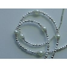 PEARLS SILVER CAPS HANDMADE EYEGLASS HOLDER  CHAIN NECKLACE QUALITY RUBBER ENDS