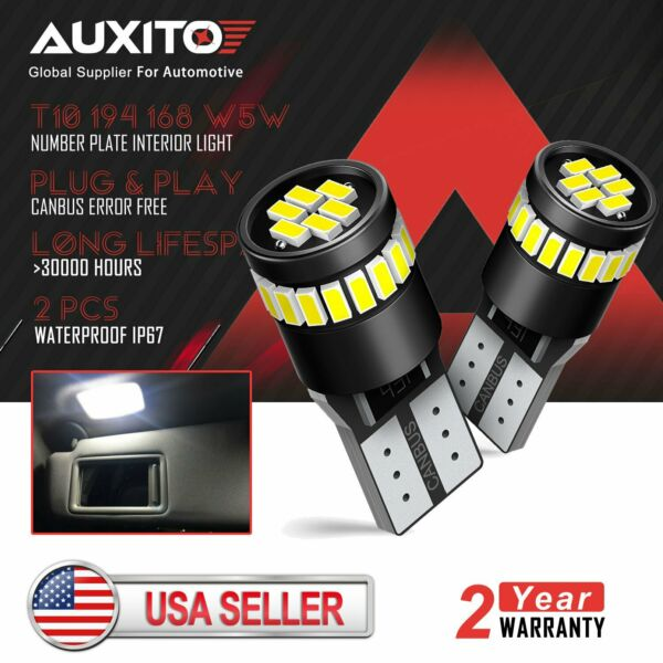 2x AUXITO CANBUS 168 194 2825 LED License Plate Light Bulbs 6000K Bright White D