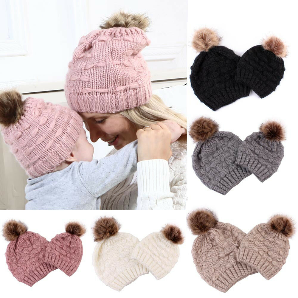 3ffd157884e Details about Mom And Baby Winter Keep Warm Hat Kids Baby Knitted Wool  Hemming Fluffy Ball Hat