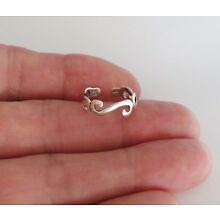 Sterling Silver 3 scroll thin band adjustable toe ring