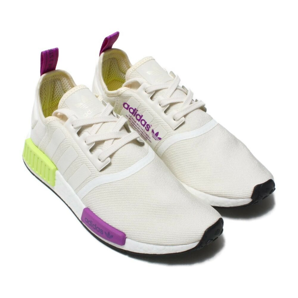 fea16cf0f8f01 Details about Adidas NMD R1 Chalk White   Semi Solar Yellow D96626 Men s  Boost Knit Black