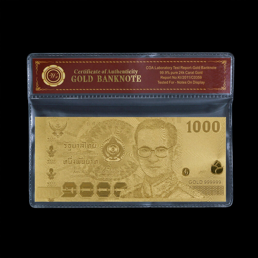 Wr Thailand 1000 Baht Gold Foil Banknote Polymer Money Thai King Souvenir Gifts