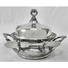 LOVELY!! Atq 1890's FORBES SILVER CO #183 Butter/Cheese Server w/Knife~COMPLETE!