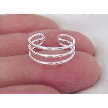 925 Sterling Silver triple 3 band adjustable toe ring sizes small, medium, large