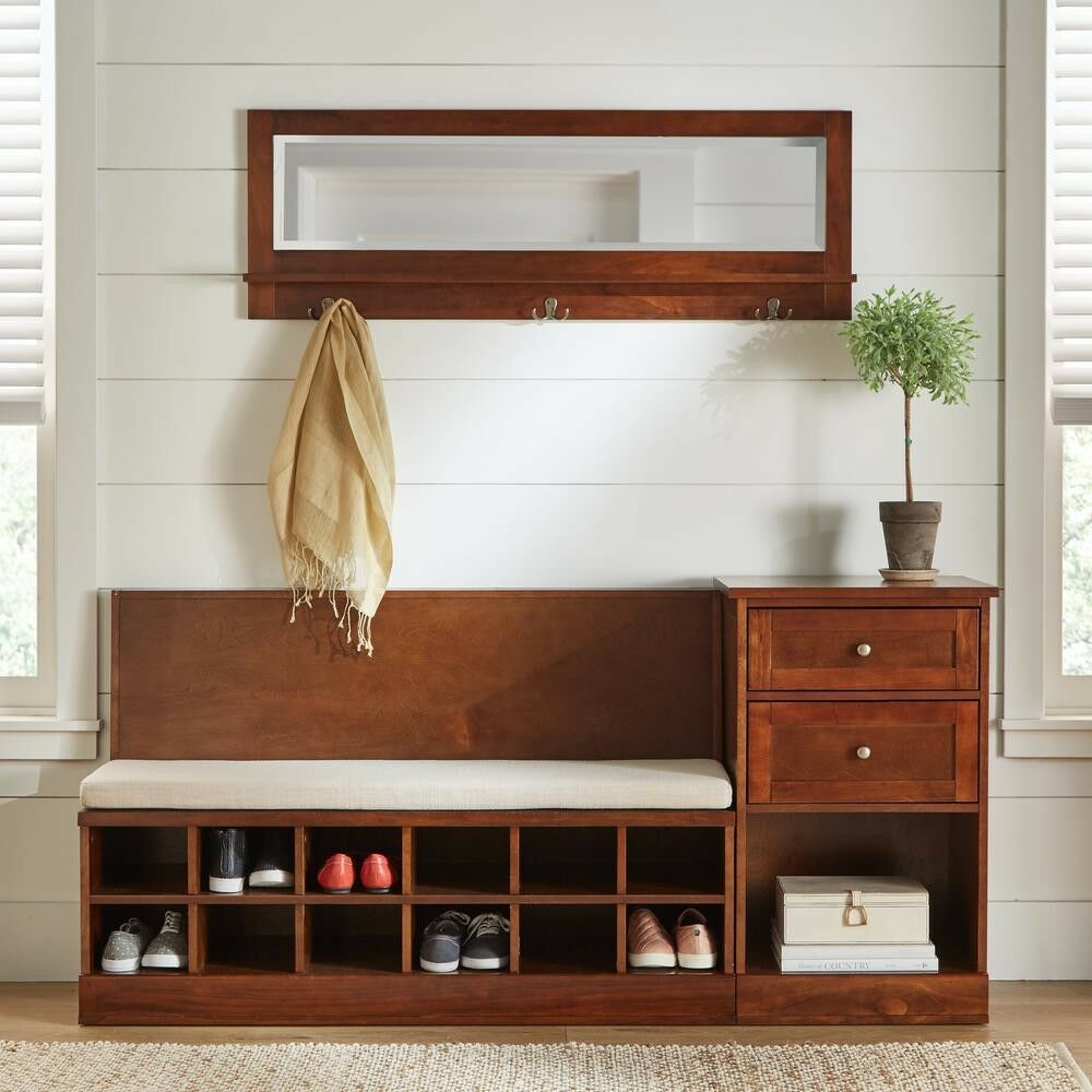 Details About Shoe Cubbies Entryway Storage Bench With Cushion Elegant Foyer Furniture Shoes
