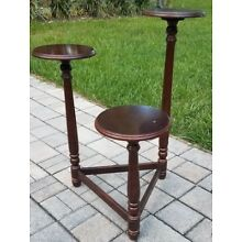 Vintage Mahogany 3 tier pedestal plant stand display neo-classical Powell