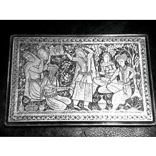 BEAUTIFUL ANTIQUE PERSIAN ENGRAVED SOLID SILVER CIGARETTE CASE