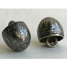 Lot 2 Antique Imperial Old Russian Silver Niello Buttons