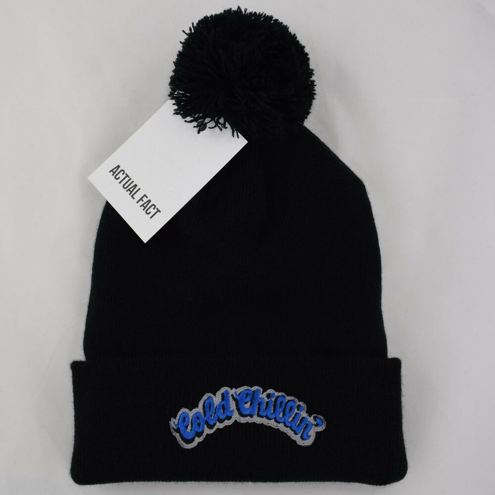 Cold Chillin  Records Hip Hop New York Roll Up Black Bobble Beanie Hat by  AF 5060618543707  336fc5ff00d