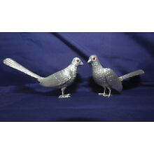 Sterling Silver Vintage table Ornaments, Pheasants, Salt and Pepper Shakers