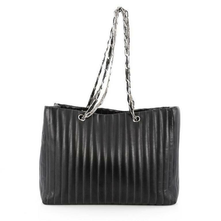 f7bcb9b22c5201 Details about Chanel Vintage Lambskin Leather Vertical Quilted Large  Mademoiselle Tote Black