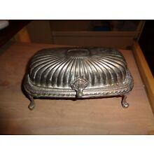 Vintage  Silverplate Roll Top  Footed Butter Dish