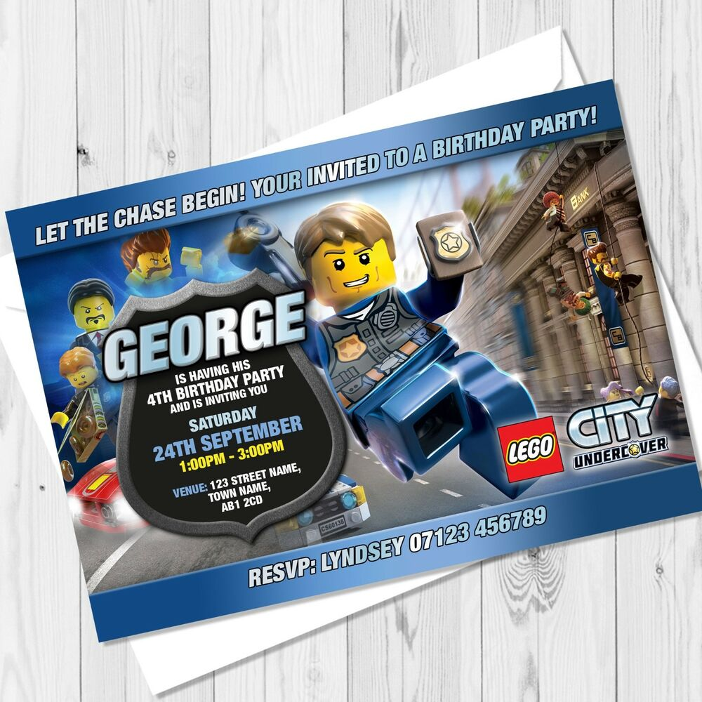 Details About Personalised Lego City Birthday Party Invitations