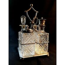Vintage Silverplate Cruet Set w 4 Glass Bottles and Condiment Holder