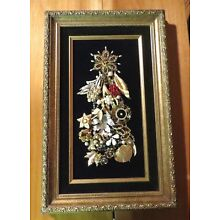 Vintage Jewelry Collage Wall Art Framed One of a Kind Christmas Tree 16