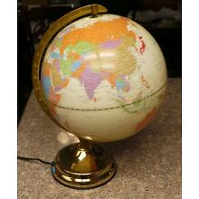 """Lighted Globe 18"""" World Globe Touch Lighting with 3 Settings GREAT SHAPE!"""