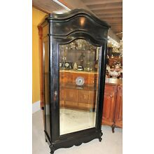 French Antique Painted Black Louis XV 1 Door Mirrored Armoire / Wardrobe Cabinet